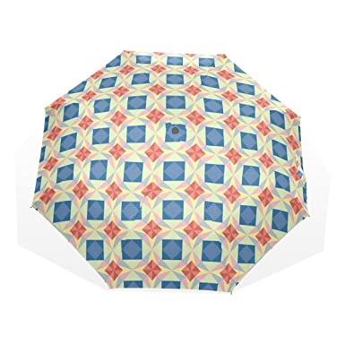 LORVIES Seamless Star Vector Pattern Automatic 3 Folding Parasol Sun Protection Anti-UV Umbrella for