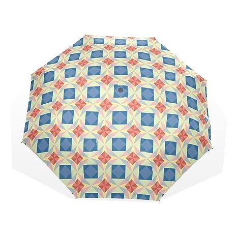 COOSUN Sin fisuras patrón de estrella de vector automático 3 plegable Sombrilla de Protección Solar paraguas