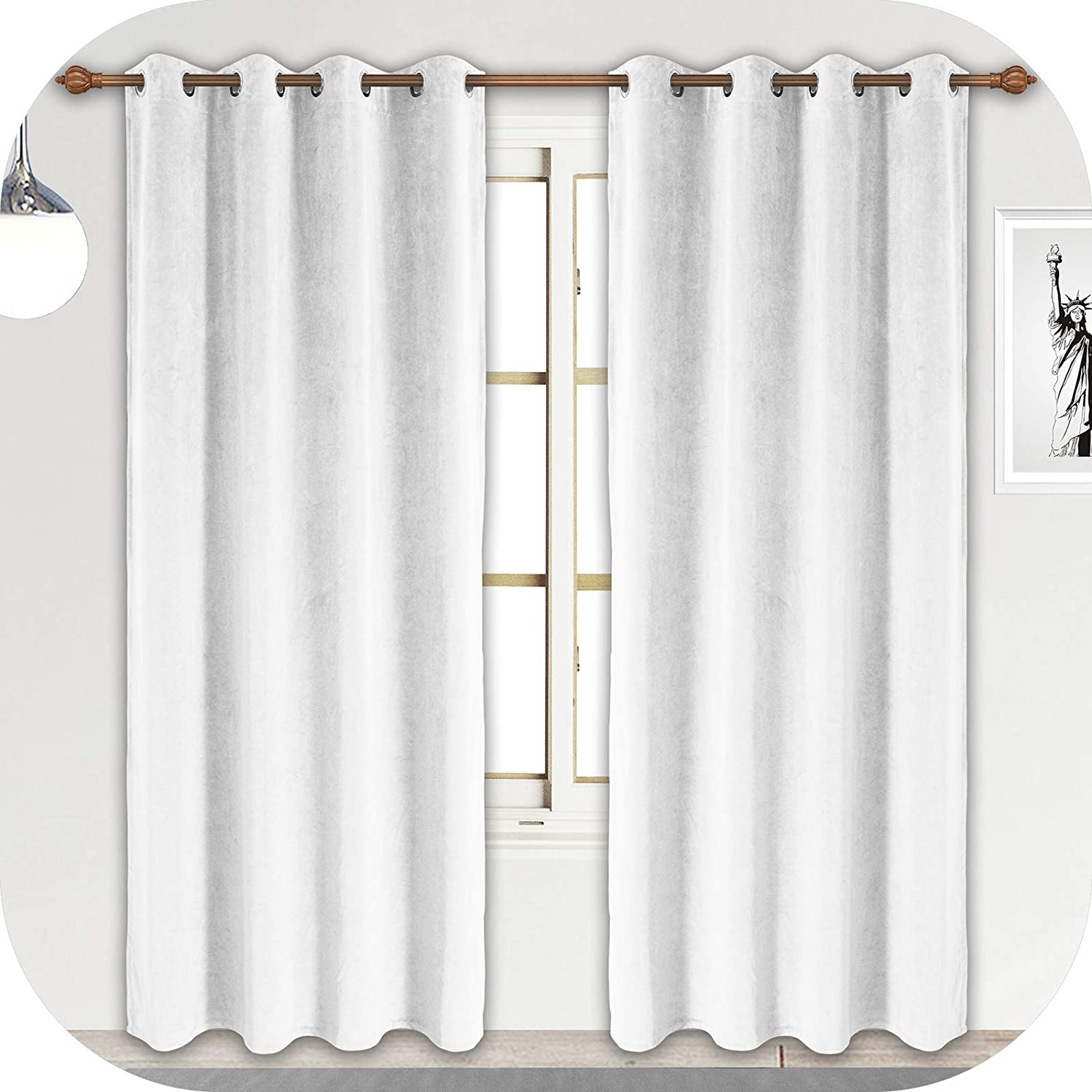 ZHAOFENG White Velvet Curtains with Grommet, Blackout SoftLuxury ThickSunlight Dimming Heat InsulatedPrivacy ProtectVelour Drapes for Livingand Dining Room, 2 Panels, W52 x L84 Inches