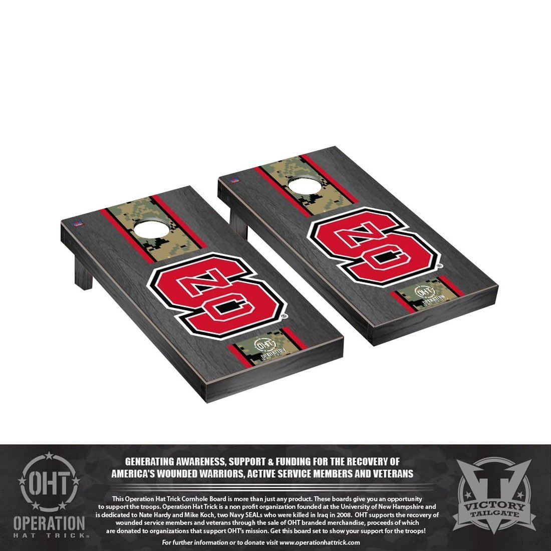 Victory Tailgate Operation Hat Trick North Carolina State NC Wolfpack Cornhole Set Onyx Stained Version by Victory Tailgate (Image #1)