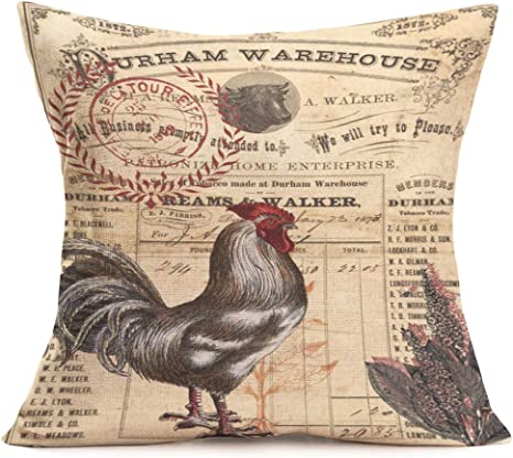 Amazon Com Asminifor Throw Pillow Covers Retro Vintage Farmhouse Art Rooster With Lettering Decorative Cotton Linen Cushion Cover Pillow Cases For Home Sofa Decor 18 X 18 Inches Retro Rooster Home Kitchen