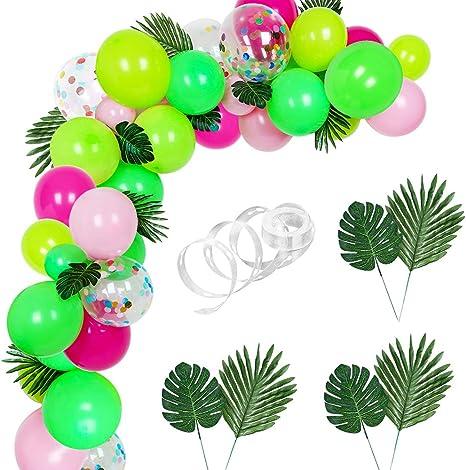 Auihiay 83 Pieces Balloons Garland Kit DIY Hawaii Balloon Arch Garland with Palm