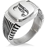 Tioneer Stainless Steel Letter L Alphabet Initial Royal Monogram Minimalist Oval Top Polished Statement Ring