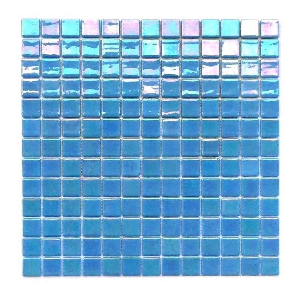 1x1 Glossy Spa Blue Iridescent Shimmer Handmade Glass Pool Mosaic Tile Backsplash