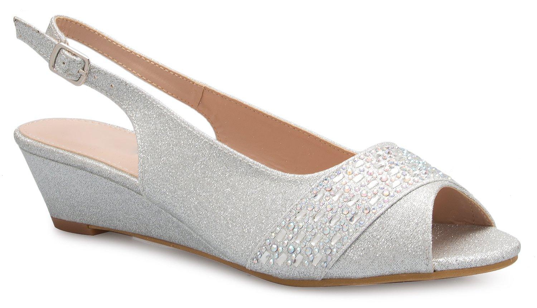 OLIVIA K Women's Adorable Low Slingback Rhinestone Dress Pumps Heel - Comfort, Casual, Basic Style