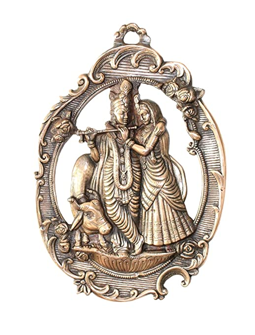 APKAMART Radha Krishna Wall Hanging - 16 Inch Height - Metal Wall Showpiece for Wall Decor, Room Decor, Home Decor and Gifts Wall Decor & Hangings at amazon
