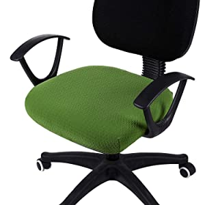 smiry Stretch Spandex Jacquard Dining Room Chair Seat Covers, Removable Washable Anti-dust Computer Office Chair Slipcovers (Office Chair Cover, Olive Green)