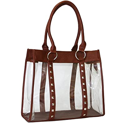 Amazon.com  Women Clear Bag Transparent Tote Purse - Brown  Shoes 9ab44b41acf84