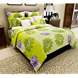 Home Candy 144 TC Floral Cotton Double Bedsheet with 2 Pillow Covers - Green