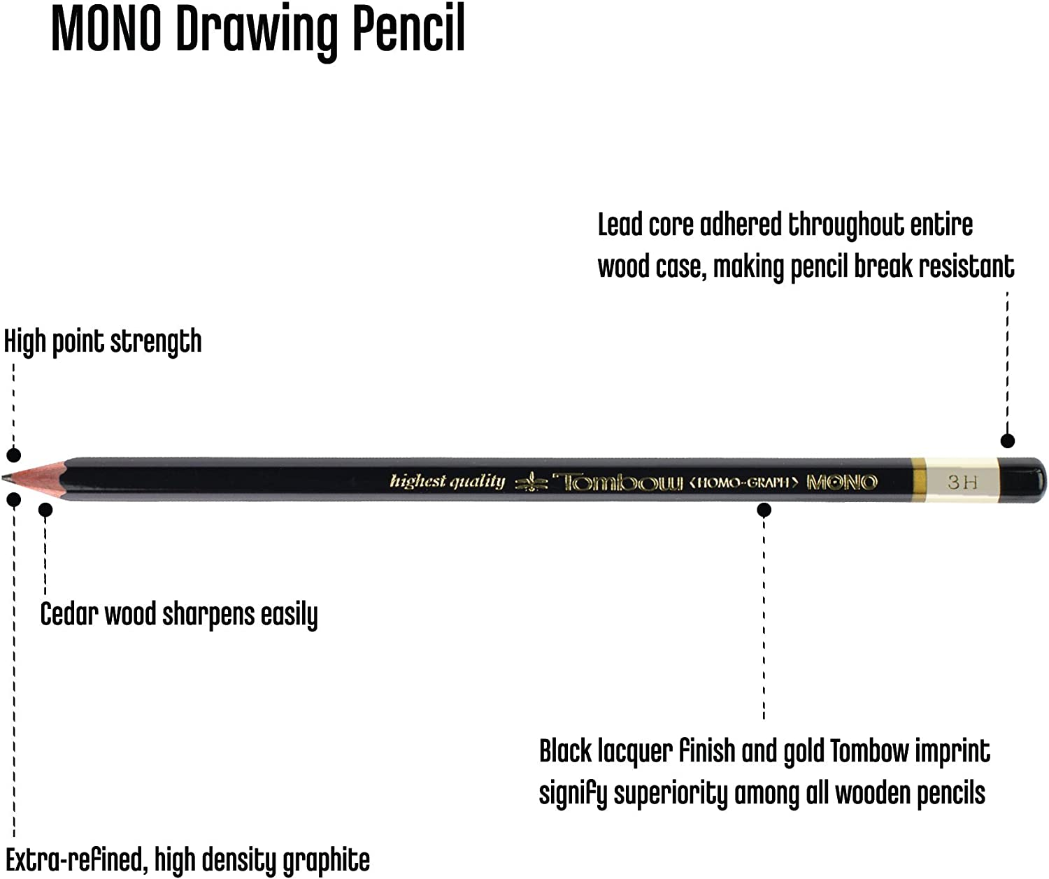 Set of 12-51515 5H Hardness Tombow Mono Professional Drawing Pencils