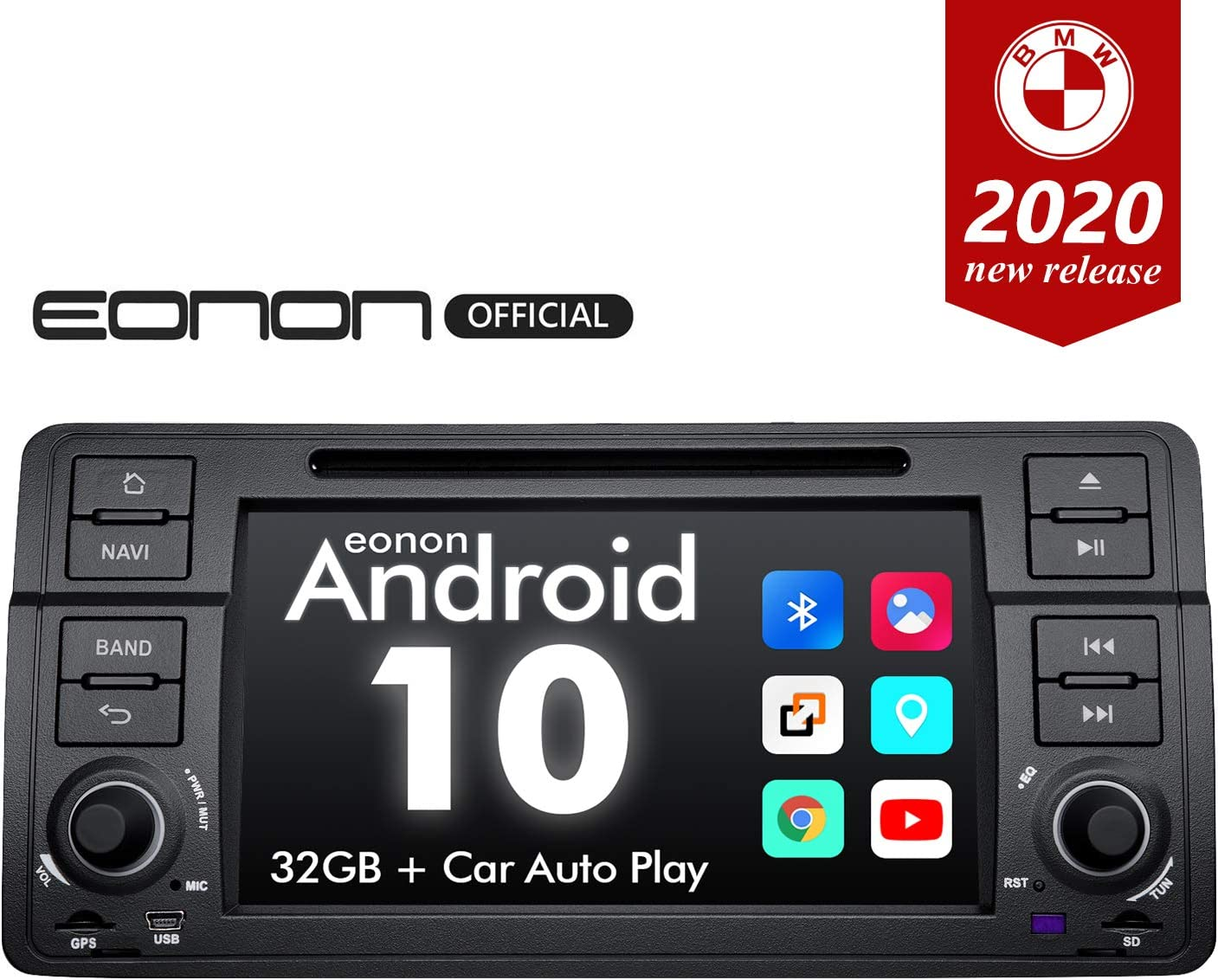 2020 Newest Android Car Stereo Android 10 Double Din Car Stereo, Eonon Car Radio Applicable to BMW 3 Series Android Head Unit Support Carplay/Android Auto/WiFi/Fast Boot/Backup Camera-7 Inch-GA9450
