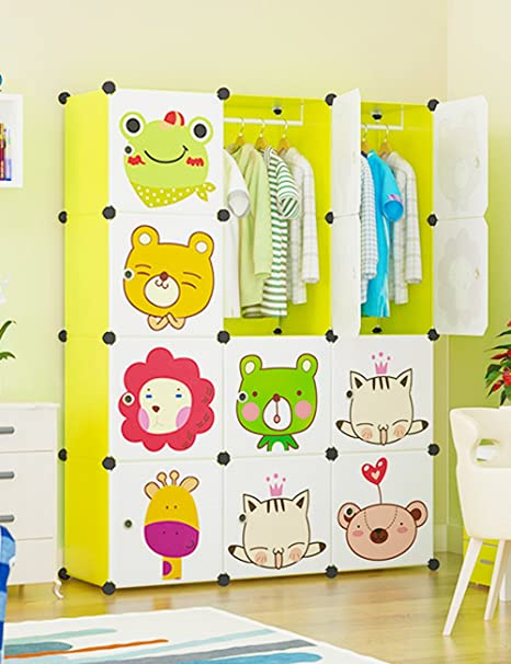 Portable Clothes Closet Wardrobe Cartoon Freestanding Storage Organizer With Doors 12 Cube