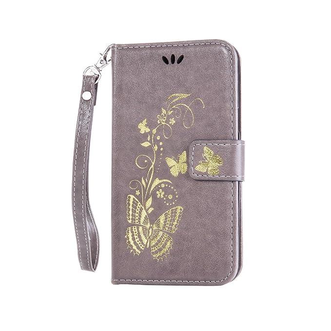 Coque pour Samsung Galaxy S4(GT-i9500/i9505) ,Housse en cuir pour Samsung Galaxy S4(GT-i9500/i9505) ,Ecoway Bronzante Papillon Fleur imprimé étui en cuir PU Cuir Flip Magnétique Portefeuille Etui Housse d