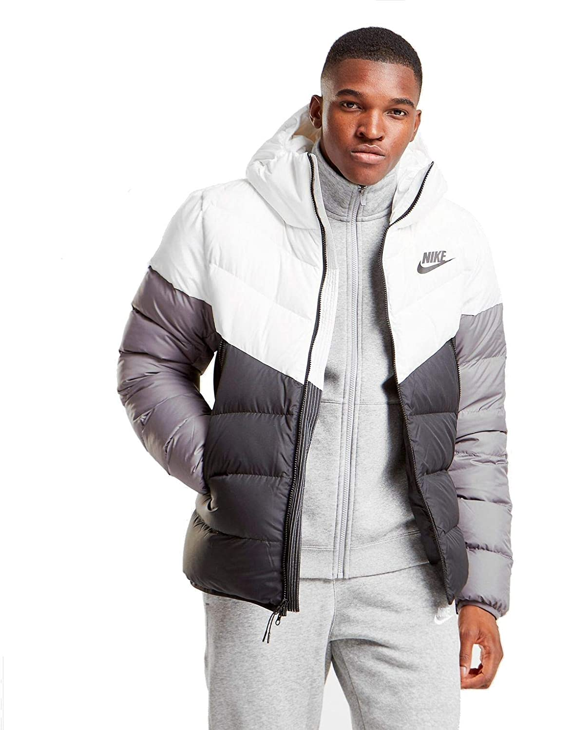 6720c328f0d NIKE Sportswear Windrunner Down Fill Men's Hooded Jacket (White/Black/Grey,  Large) at Amazon Men's Clothing store: