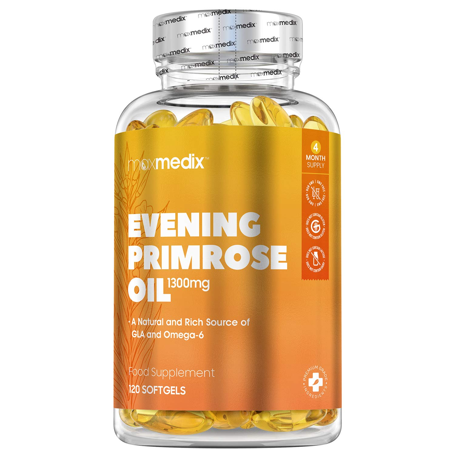 Evening Primrose Capsules 1300mg - 120 Softgels - High Strength Evening Primrose Oil Capsules for Vitality, Women Supplements, Omega 6 Oil Supplement, Skin, Pregnancy Vitamin