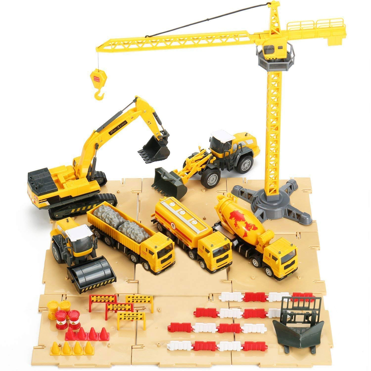 iPlay, iLearn Construction Site Vehicles Toy Set, Engineering Play-Set, Tractor, Digger, Crane, Dump Trucks, Excavator, Cement, Steamroller for 3, 4, 5 Year Old Toddlers, Boys, Girls, Kids & Children