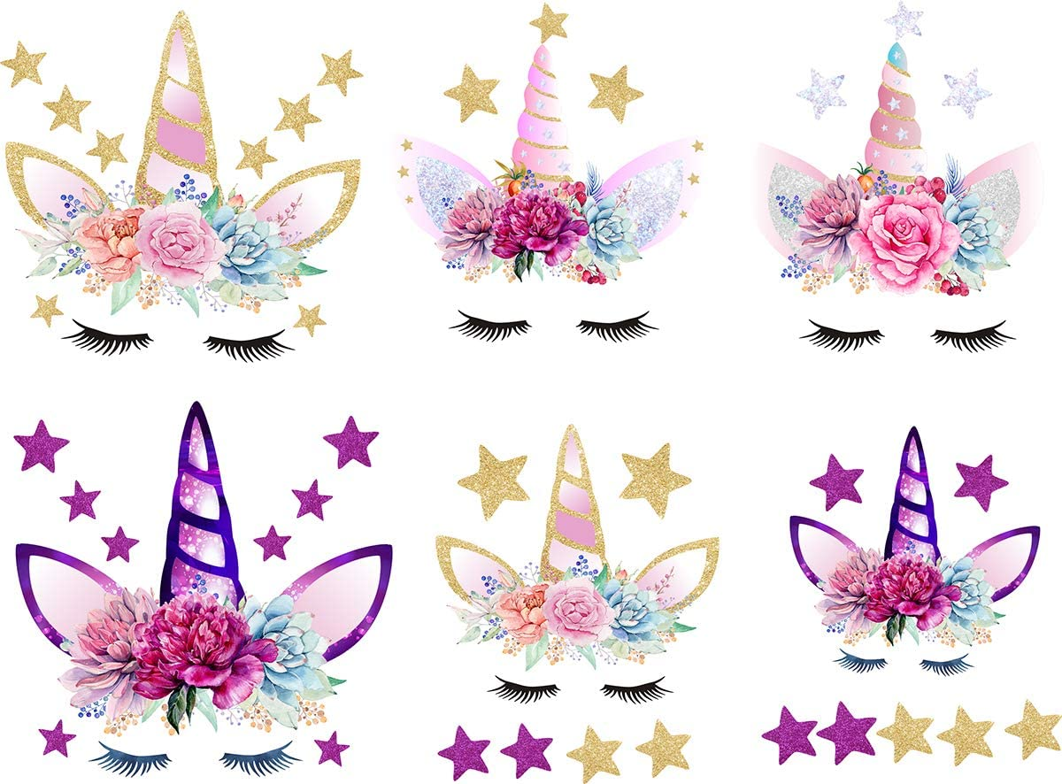 Unicorn Iron On Heat Transfer Diamond Iron Transfer Patches Glitter Heat Transfer Patches Flowers/&Star Patches Clothes Patch Appliques Decorate T-Shirt Bag