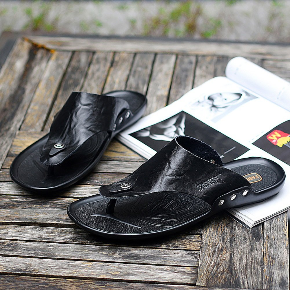 ZJM-Sandale ZJM- Mann-Pantoffel-Sandelholz-Strand beschuht weiches echtes bequemes Leder : (Farbe : Orange, größe : Leder 44) Schwarz 1bbd7e