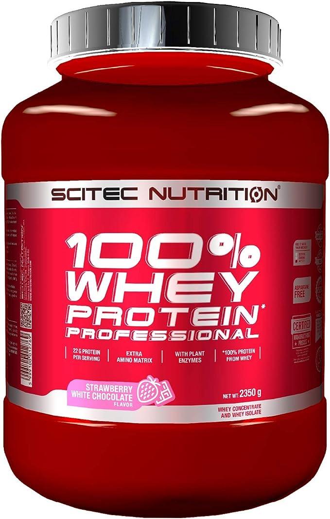 Scitec Nutrition 100% Whey Protein Professional con aminoácidos clave y enzimas digestivas adicionales, 2.35 kg, Fresa-Chocolate blanco