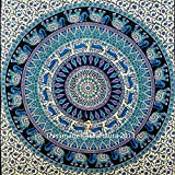 Hippie Elephant Mandala Tapestry, India Tapestry Wall Hanging, Twin Size Bedspread Bedding, Boho Dorm Decor