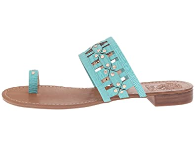 c99f48860 Amazon.com | Vince Camuto Helice Women's Leather Two-Piece Toe Loop Trendy Flat  Sandals Shoes | Sandals