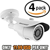 12v Security Camera for Outside Home by Ventech (4 Pack) with 36 ir led