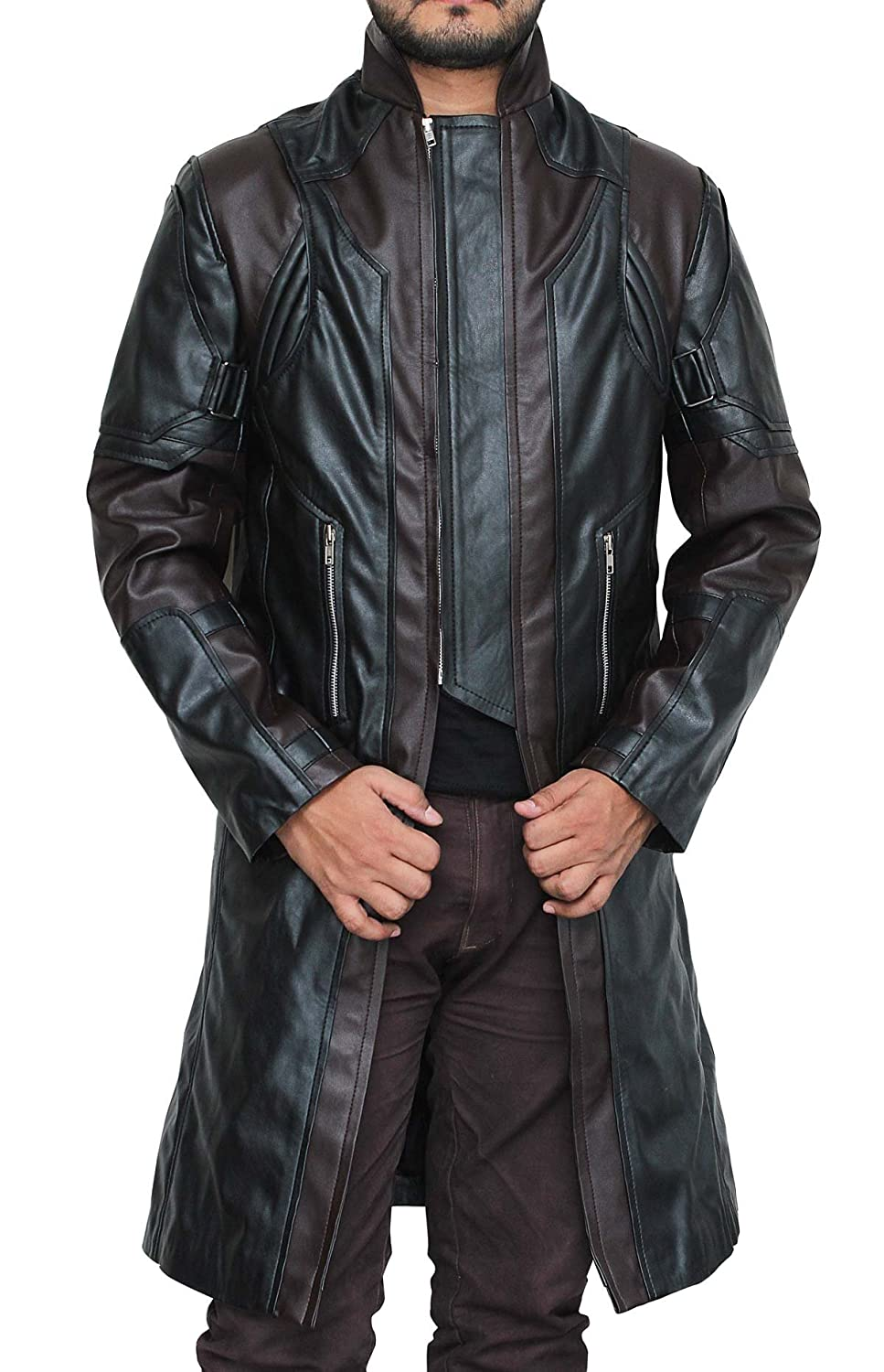 The Avengers: Hawkeye Brown and Black Faux Leather Coat - DeluxeAdultCostumes.com