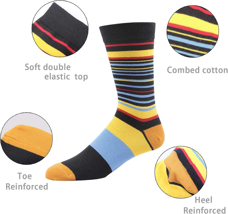 RioRiva Mens Casual Dress Socks Stripe for Suit 90/% Cotton Rich Mid Calf Designer Pattern Cute style Colorful