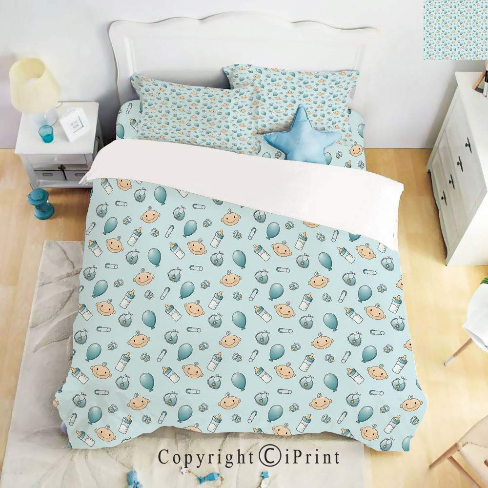 Homenon Luxury 4-Piece Bed Sheet,Hide Zipper Closure,Infant Head with Balloons Pacifiers and Milk Bottles Newborn Inspired Decorative,Baby Blue Turquoise Tan,King Size