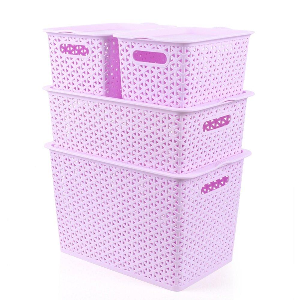 JPPSNH カラープラスチック収納ボックス、ユニークなファッション籐中空収納バスケット、デスクトップ仕上げボックス、 (Color : Purple) B07SZ1XP5R Purple