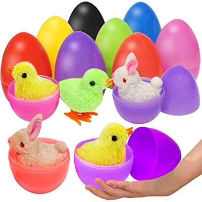 Double Couple 8 Pack Large Toy Filled Easter Eggs Filled with Wind-Up Rabbits and Chicks Plush Bunny (8 Pack Rabbits+Chics): Toys & Games