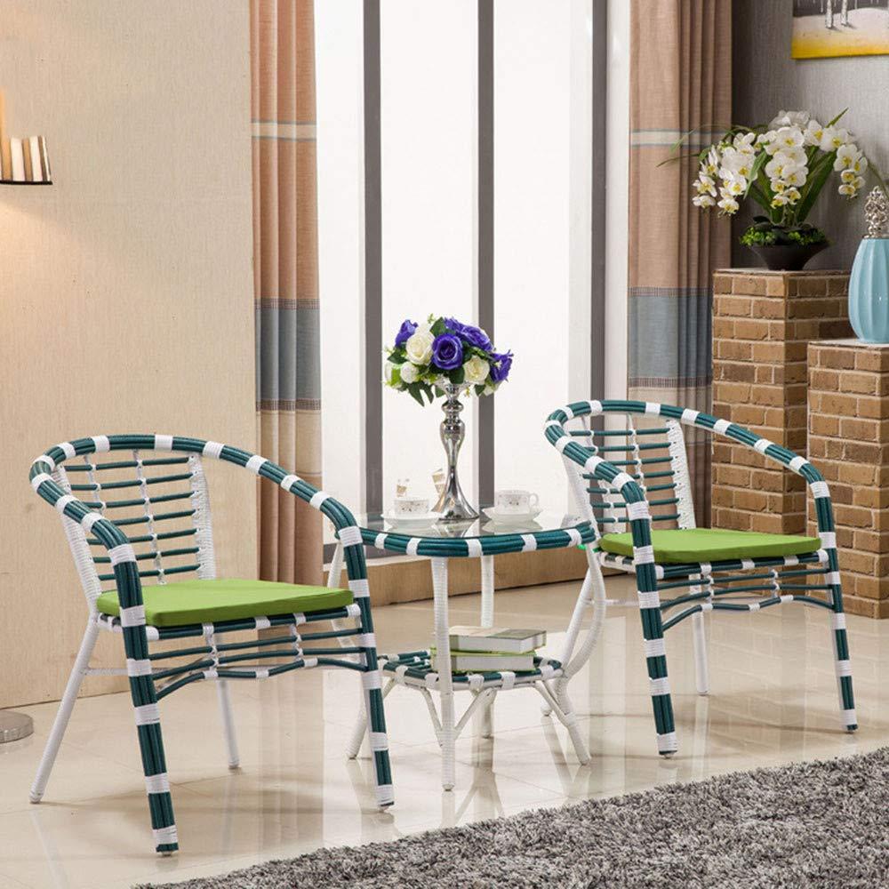 Freizeitstuhl,DASENLIN Stuhl, Couchtisch, handgefertigte Rattan Tisch- und Stuhlmöbel, umweltfreundlicher Freizeit Tisch und Stuhl Set 3, blau