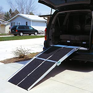 Prairie View Industries Portable Multi-Fold Reach Wheelchair Ramp, 36 Pound
