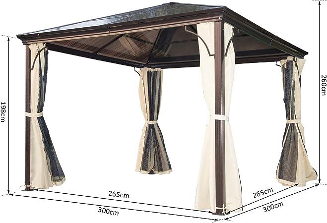 Outsunny - Cenador para jardín, Carpa de 3 x 3 m, con Estructura ...