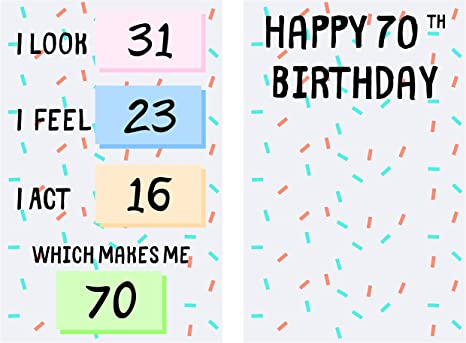 Funny 70th Birthday Cards For Women Or Men For Friends Family Lover Etc Funny Birthday Cards 70 Years Old Perfect Funny Birthday Cards 70th Anniversary With Envelope One Card 1 Office Products Amazon Com