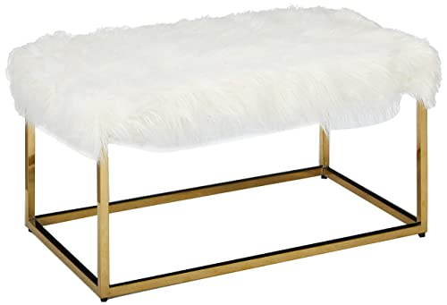 Christopher Knight Home Glam Faux Furry White Long Fur Ottoman with Gold Finish Stainless Steel Frame