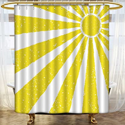 AmaPark Bathroom Shower Curtain Bath Decor Yellow Table Of Retro Wood And Kitchen Room Interior With