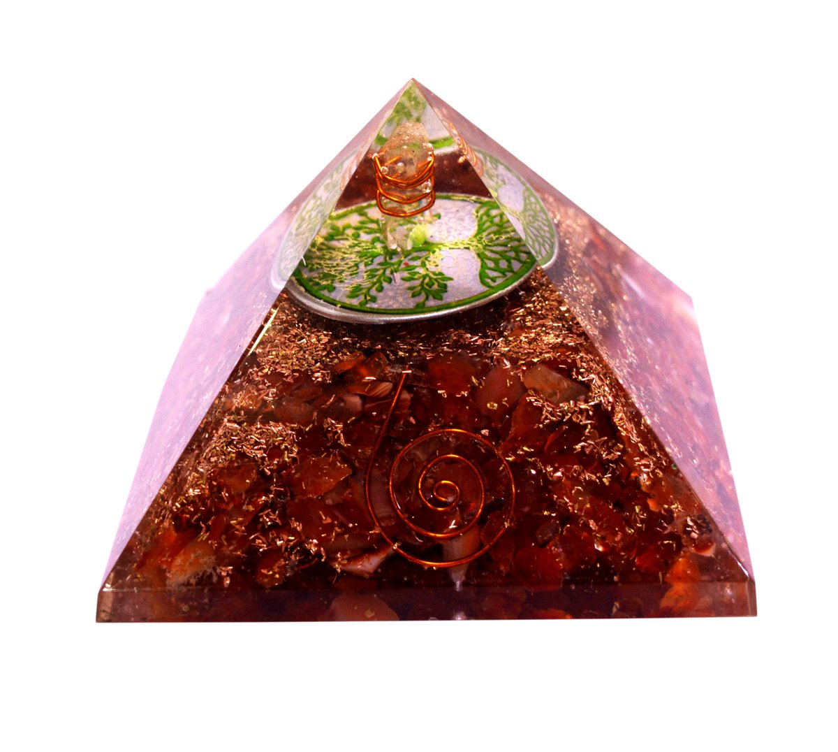 Reiki Energized Chakra Healing Large Orgone Pyramid with Orange Carnelian Gemstones with Copper Coiled Crystal Points for EMF Protection Meditation Yoga Energy Generator 3'' Size - Krishna Mart