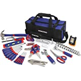 WORKPRO Home Repair Tool Kit with 3AAA COB Work Light and Compact Tool Bag, 54-Piece Household Maintenance Handtool Set - Chrome Finished Tools for Durable, Long Lasting