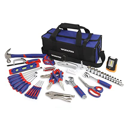 61ac35eeb96 WORKPRO Home Repair Tool Kit with 3AAA COB Work Light and Compact Tool Bag
