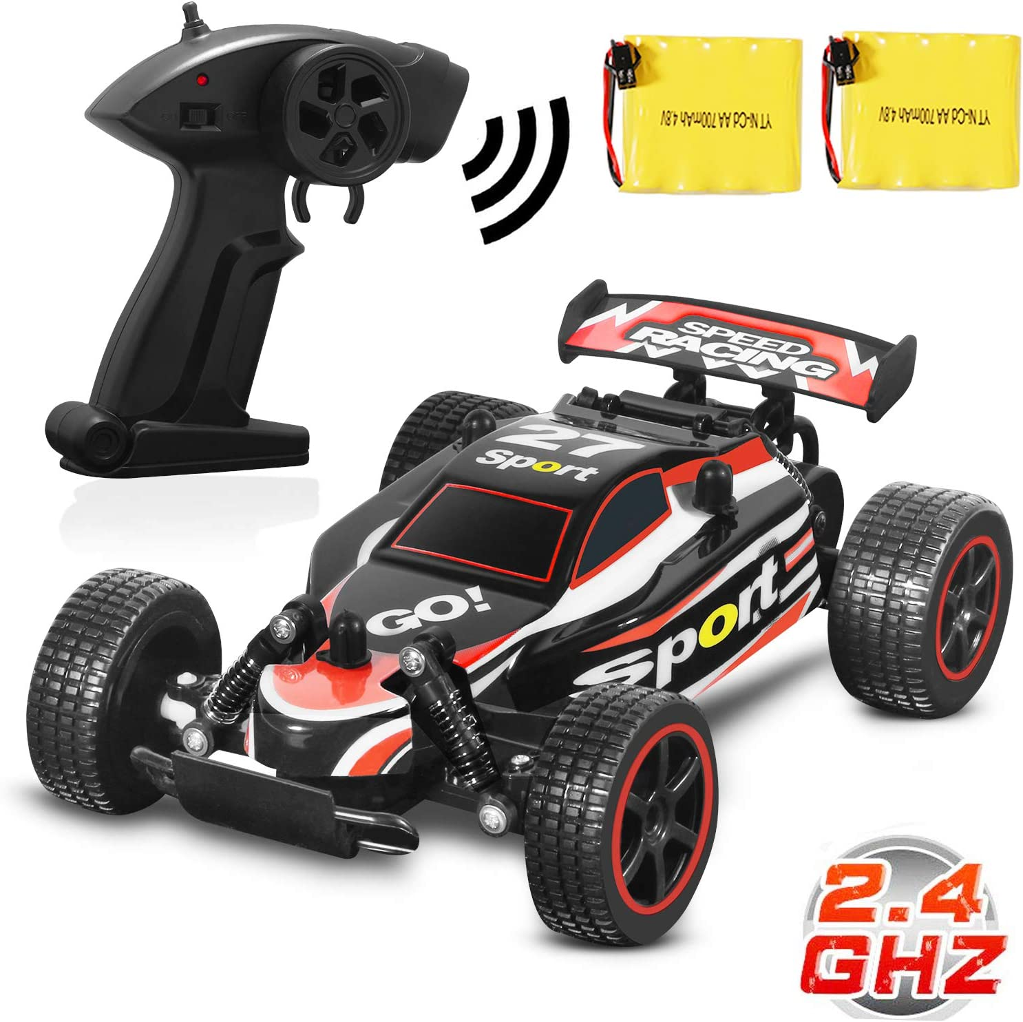 Blexy Rc Racing Cars 2.4Ghz hoch Speed Rock Off-Road Vehicle 1:20 2Wd Radio Remote Control Racing Toy Cars Electric Fast Race Buggy Hobby Auto Green 211 (Red)