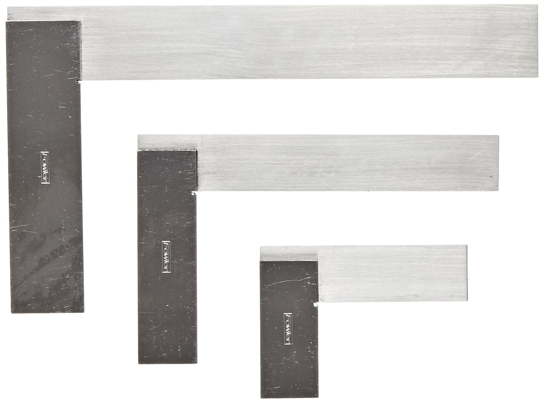Fowler 52-432-444 Machinist Hardened Steel Square Set, 2'', 4'', and 6'' Blade Size