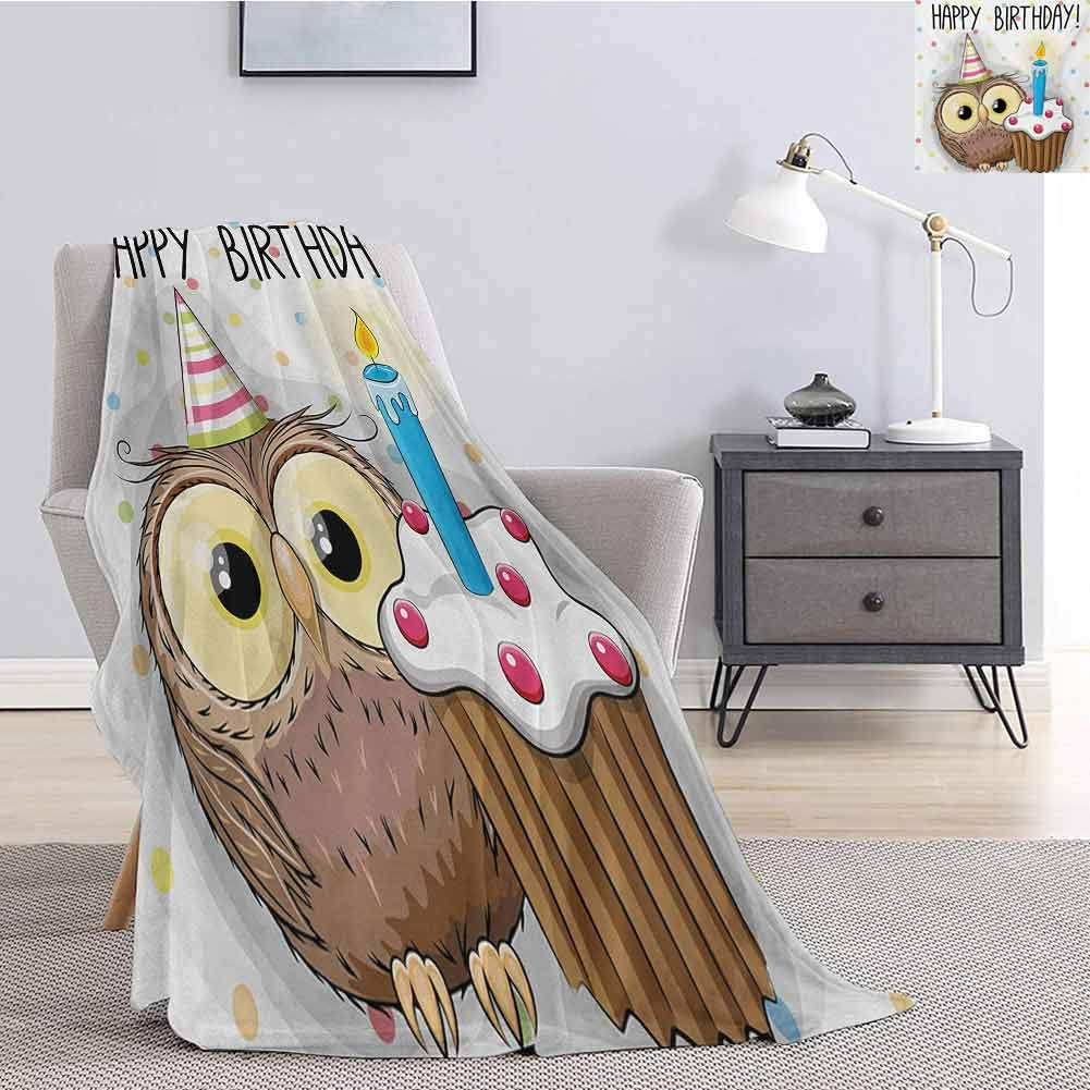 Kids Birthday Children's Blanket Baby Owl Bird Party Cupcake Tasty Creamy Cake on Colorful Polka Dots Backdrop Lightweight Soft Warm and Comfortable W60 x L50 Inch Multicolor by Luoiaax