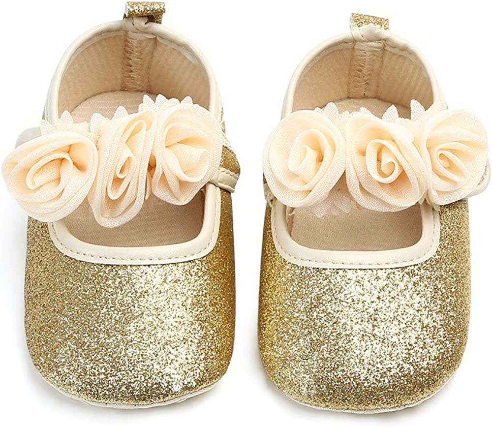 Pandaie Baby Boy /& Girl Shoes /Newborn Toddler Baby Girls Floral Bling First Walkers Soft Sole Shoes