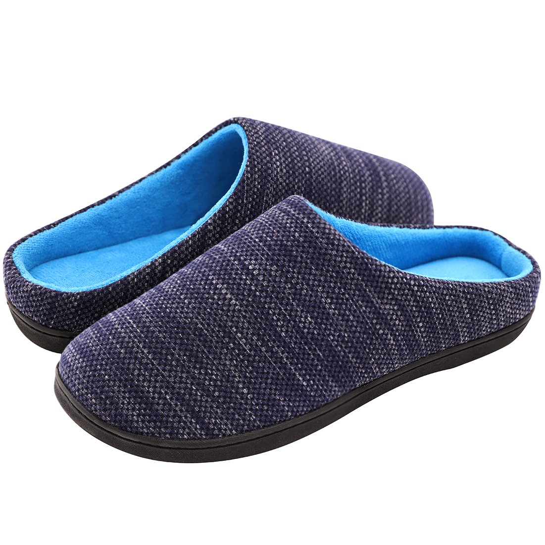 RockDove Men's Two-Tone Memory Foam Slipper(7-8 D(M) US, Denim/Blue)