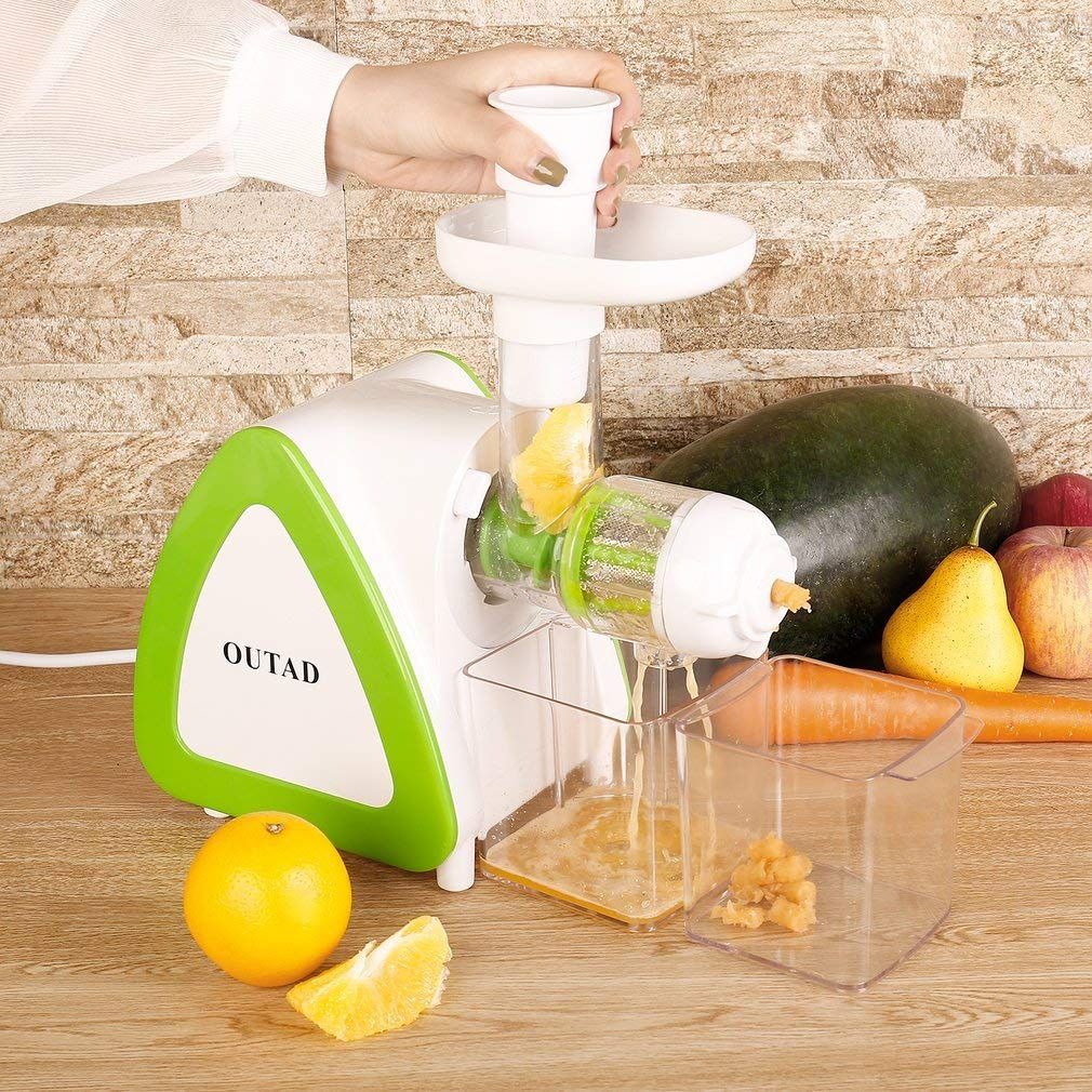 Amazon.com: OUTAD 150W Low Speed Masticating Juicer Extractor, Cold Press Juicer, Lowest Noise, with Cleaning Brush, Bigger Container, High Nutrient Juice ...