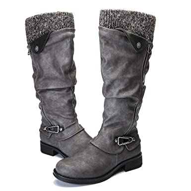 bb983bdd668f gracosy Fashion Knee High Boots Fur Lined Warm Stretch Boots Side Zipper  Riding Boots for Women