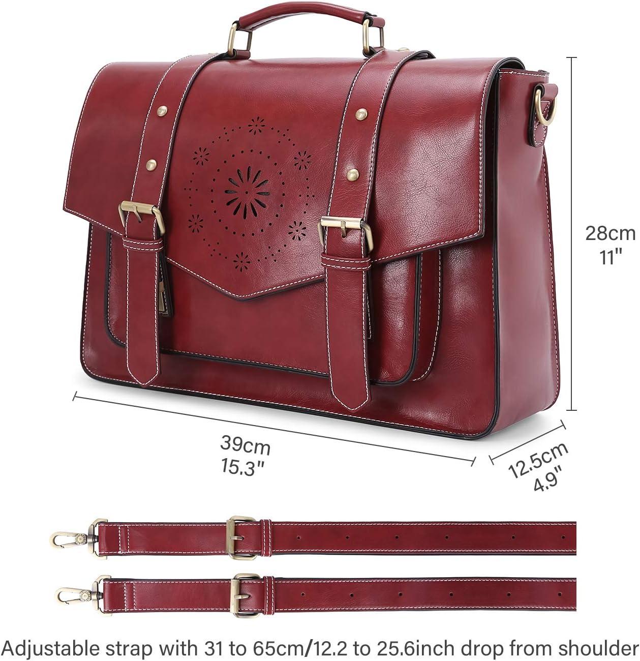ECOSUSI Umh/ängetasche Damen Vintage Laptoptasche 15,6 Zoll Schultertaschen Arbeitstasche Handtasche Rot