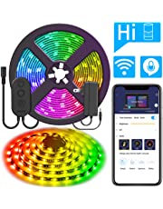 MINGER Dreamcolor 16.4ft/5M RGB LED Strip Lights with Alexa, WiFi Wireless Smart Phone APP Controlled Neon Light Strip Waterproof Tape Lighting Kit with Power Supply, No Hub Required (Not Support 5G WiFi)