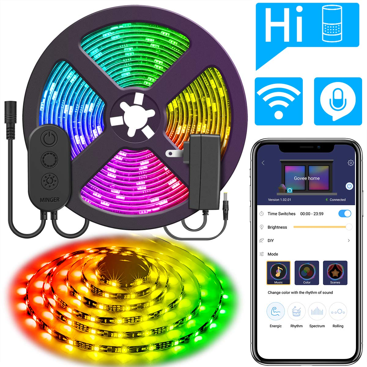 DreamColor 16.4ft LED Strip Lights, MINGER WiFi Wireless Smart Phone Controlled Light Strip 5050 LED Lights Sync to Music, Work with Amazon Alexa, Google Assistant Android iOS (Not Support 5G WiFi) by Govee (Image #1)